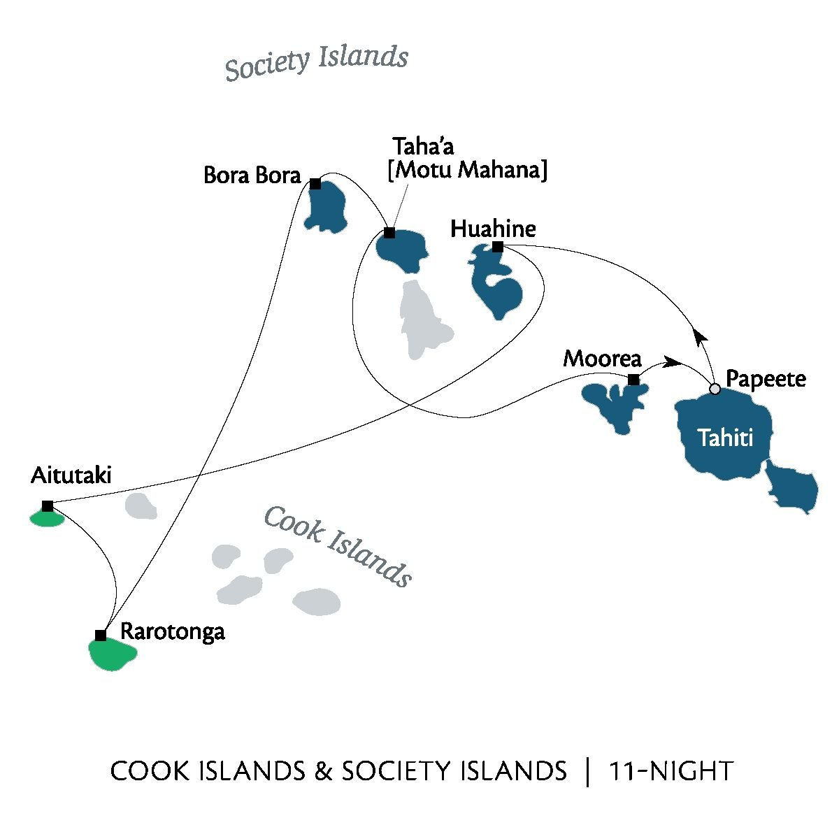 Cook Islands & Society Islands. 11-night cruise.